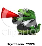 Clipart Of A 3d Green Business T Rex Dinosaur Using A Megaphone On A White Background Royalty Free Illustration