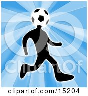 Poster, Art Print Of Soccer Player Person With A Soccer Ball Head Running