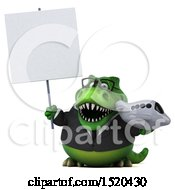 Clipart Of A 3d Green Business T Rex Dinosaur Holding A Plane On A White Background Royalty Free Illustration