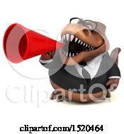 Clipart Of A 3d Brown Business T Rex Dinosaur Using A Megaphone On A White Background Royalty Free Illustration