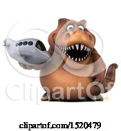 Clipart Of A 3d Brown T Rex Dinosaur Holding A Plane On A White Background Royalty Free Illustration