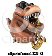 3d Brown T Rex Dinosaur Playing A Saxophone On A White Background