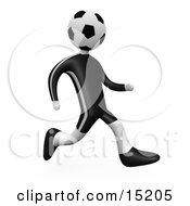 Soccer Player Person With A Soccer Ball Head Running Over A White Background