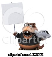 Clipart Of A 3d Brown Business T Rex Dinosaur Holding A Plane On A White Background Royalty Free Illustration