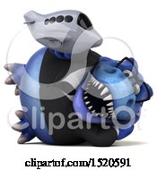 Clipart Of A 3d Blue Business T Rex Dinosaur Holding A Plane On A White Background Royalty Free Illustration