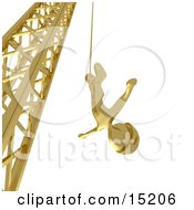 Golden Bungee Jumper In A Helmet Falling While Bungee Jumping From A Crane
