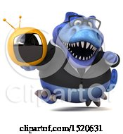 3d Blue Business T Rex Dinosaur Holding A Tv On A White Background