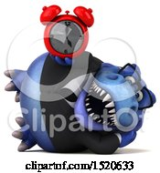3d Blue Business T Rex Dinosaur Holding An Alarm Clock On A White Background