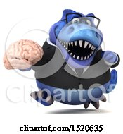 3d Blue Business T Rex Dinosaur Holding A Brain On A White Background
