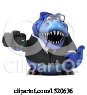 3d Blue Business T Rex Dinosaur Holding A Camera On A White Background