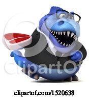 3d Blue Business T Rex Dinosaur Holding A Steak On A White Background