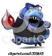 Clipart Of A 3d Blue Business T Rex Dinosaur Holding A Blood Drop On A White Background Royalty Free Illustration