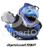 3d Blue Business T Rex Dinosaur Holding A Cloud On A White Background