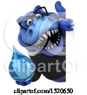 3d Blue Business T Rex Dinosaur Holding A Water Drop On A White Background