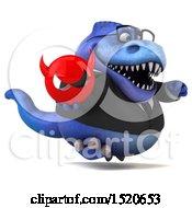 3d Blue Business T Rex Dinosaur Holding A Devil On A White Background