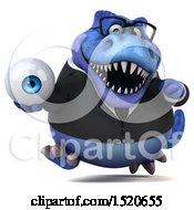 3d Blue Business T Rex Dinosaur Holding An Eyeball On A White Background