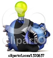 Poster, Art Print Of 3d Blue Business T Rex Dinosaur Holding A Light Bulb On A White Background