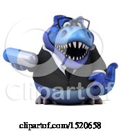 3d Blue Business T Rex Dinosaur Holding A Pill On A White Background