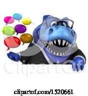 Clipart Of A 3d Blue Business T Rex Dinosaur Holding Messages On A White Background Royalty Free Illustration