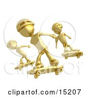 Three Gold Skateboarders In Helmets Catching Air All At The Same Time