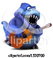 3d Blue T Rex Dinosaur Playing A Guitar On A White Background