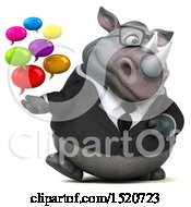 Clipart Of A 3d Business Reggie Rhinoceros Holding Messages On A White Background Royalty Free Illustration