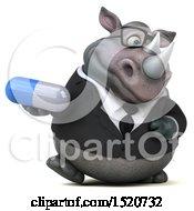 3d Business Reggie Rhinoceros Holding A Pill On A White Background