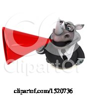Clipart Of A 3d Business Reggie Rhinoceros Using A Megaphone On A White Background Royalty Free Illustration