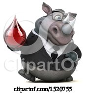Clipart Of A 3d Business Reggie Rhinoceros Holding A Blood Drop On A White Background Royalty Free Illustration