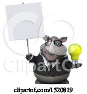 3d Business Reggie Rhinoceros Holding A Light Bulb On A White Background