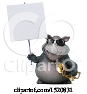 3d Reggie Rhinoceros Holding A Trumpet On A White Background