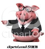 3d Chubby Business Pig Pointing On A White Background