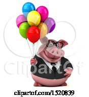 3d Chubby Business Pig Holding Balloons On A White Background