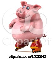 Clipart Of A 3d Chubby Pig Roller Blading On A White Background Royalty Free Illustration