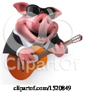 3d Chubby Business Pig Holding A Guitar On A White Background