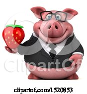 3d Chubby Business Pig Holding A Strawberry On A White Background
