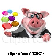 Clipart Of A 3d Chubby Business Pig Holding Messages On A White Background Royalty Free Illustration