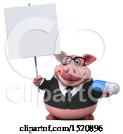 3d Chubby Business Pig Holding A Pill On A White Background