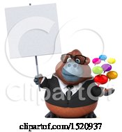 Clipart Of A 3d Business Orangutan Monkey Holding Messages On A White Background Royalty Free Illustration