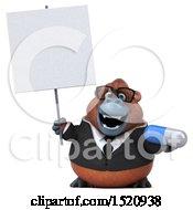 3d Business Orangutan Monkey Holding A Pill On A White Background
