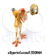 3d Yellow Frog Playing A Trumpet On A White Background
