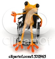 Clipart Of A 3d Yellow Frog In A Wheelchair On A White Background Royalty Free Illustration