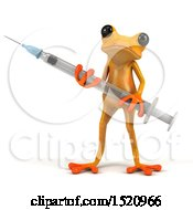 3d Yellow Frog Holding A Syringe On A White Background