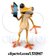 Clipart Of A 3d Yellow Frog Talking On A Smart Phone On A White Background Royalty Free Illustration