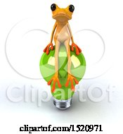 3d Yellow Frog Sitting On A Light Bulb On A White Background
