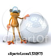 Clipart Of A 3d Yellow Frog Golfer On A White Background Royalty Free Illustration