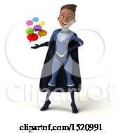 Clipart Of A 3d Young Female Black Super Hero In A Dark Blue Suit Holding Messages On A White Background Royalty Free Illustration