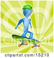 Blue Person Wearing A Green Helmet And Skateboarding Over A Green Background Clipart Illustration Image