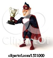 Clipart Of A 3d Buff White Male Maroon Hero Holding A Trophy On A White Background Royalty Free Illustration by Julos