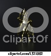 Clipart Of A 3d Gold Super Hero Talking On A Smart Phone On Black Royalty Free Illustration